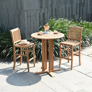 Buy this Mosko Solid Teak Wood 3 Piece Outdoor Bar Dining Set from Cambridge Casual today. It's the ideal addition to any deck, patio, out outside dining area.