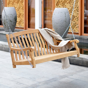 Take the weight off and enjoy the soothing rocking motion of this beautiful Vermont porch swing, available from Cambridge Casual today.