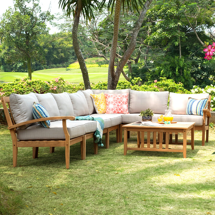 Purchase this amazing Caterina Solid Teak Wood 8 Piece Outdoor Sectional Set with Beige Cushion to make your dream outdoor space. Cambridge Casual Patio Furniture.