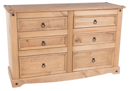 Corona Pine 3 By 3 Drawer Wide Chest