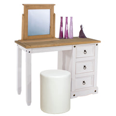 Corino White Single Pedestal Dressing Table