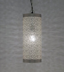 Image of Ancient Marrakesh Two - Pendant Light Cylinder Small Silver Mesh Etching