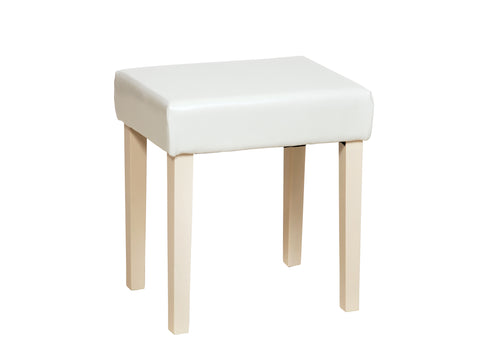 Cream Faux Leather Stool With Cream Leg