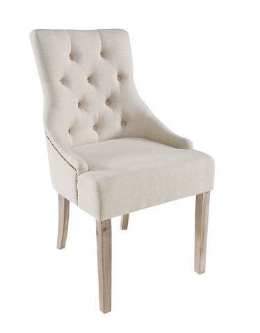 Pair Of Charlie Upholstered Cream Dining Chairs