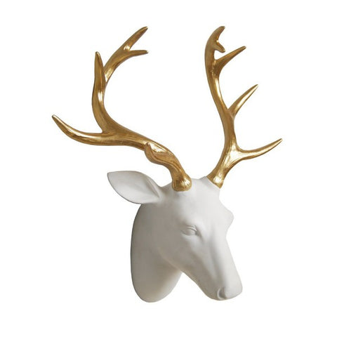 White and Gold Stag Head