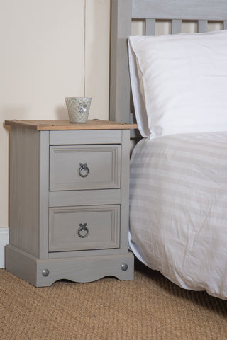 Corona Grey 2 Drawer Petite Bedside Cabinet