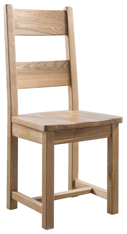 Pair of Montana Oak Farmhouse Dining Chair with Wooden Seat