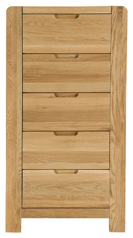 Sola Scandinavian Oak Five Drawer Wellington
