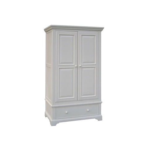 Aspen White Painted Double Wardrobe with Drawer