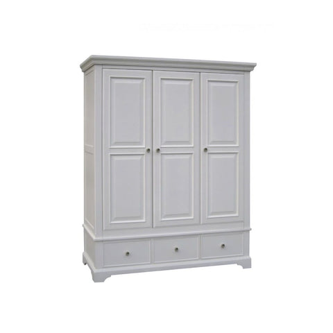 Aspen Painted White Triple Wardrobe with Drawers