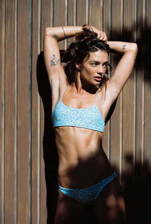 Crop style blue floral bikini top. Eco friendly and sustainable fabric.