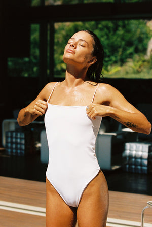 Vintage white ribbed one piece swimsuit. Ethical and sustainable swimwear.