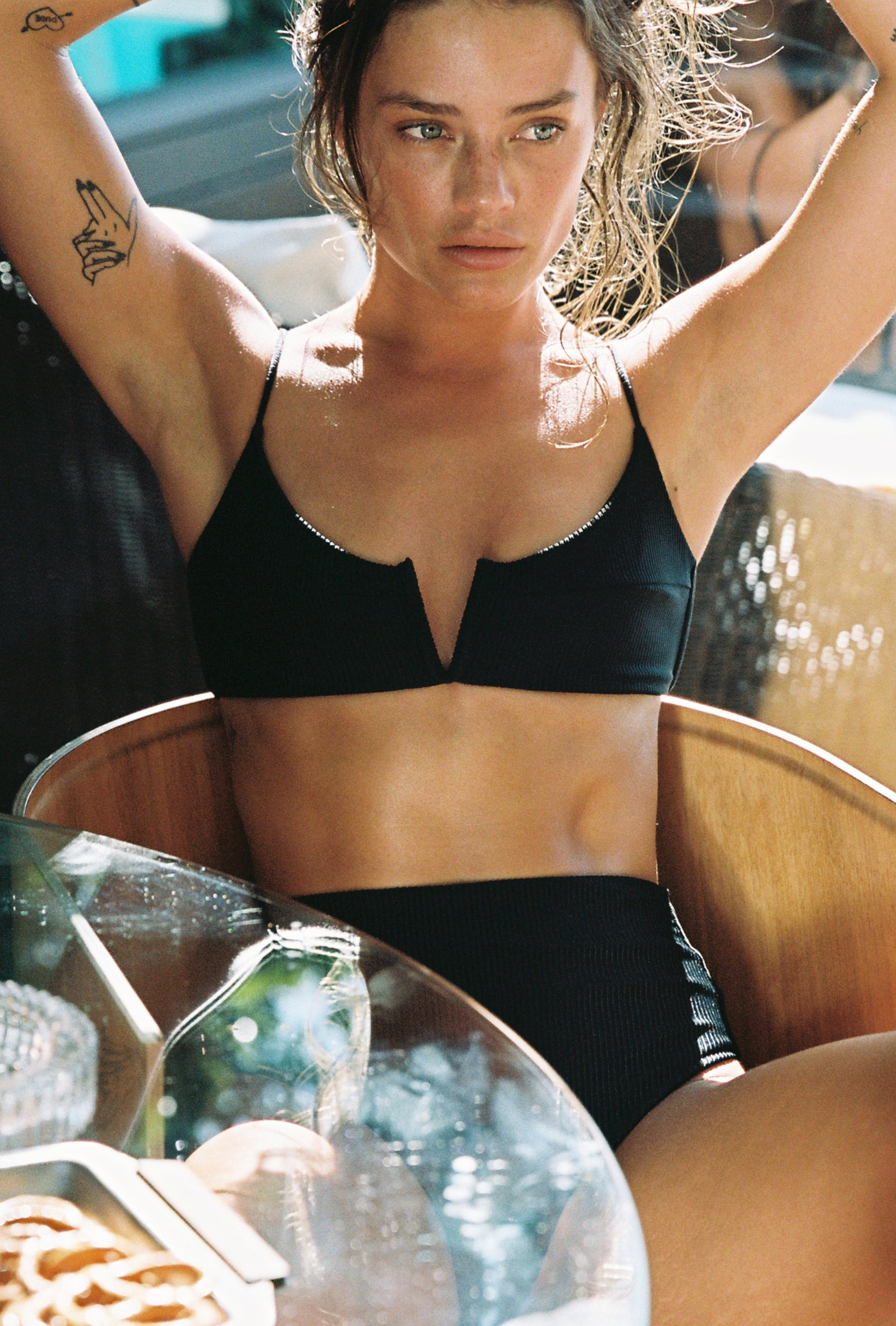 Vintage black ribbed bra style bikini top. Ethical and sustainable swimwear.