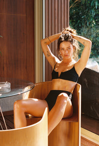 Vintage black ribbed high waisted bikini bottoms. Ethical and sustainable swimwear.