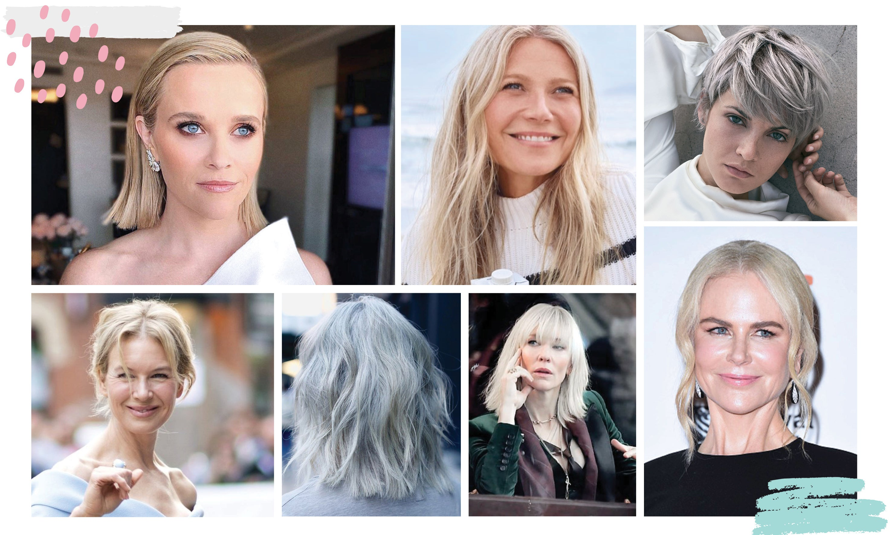 Many celebs in their 50's have embraced this grey-blonde trend, including Nicole Kidman, Reese Witherspoon, Cate Blanchett, Renee Zellweger, Ellen DeGeneres, and Gweneth Paltrow!
