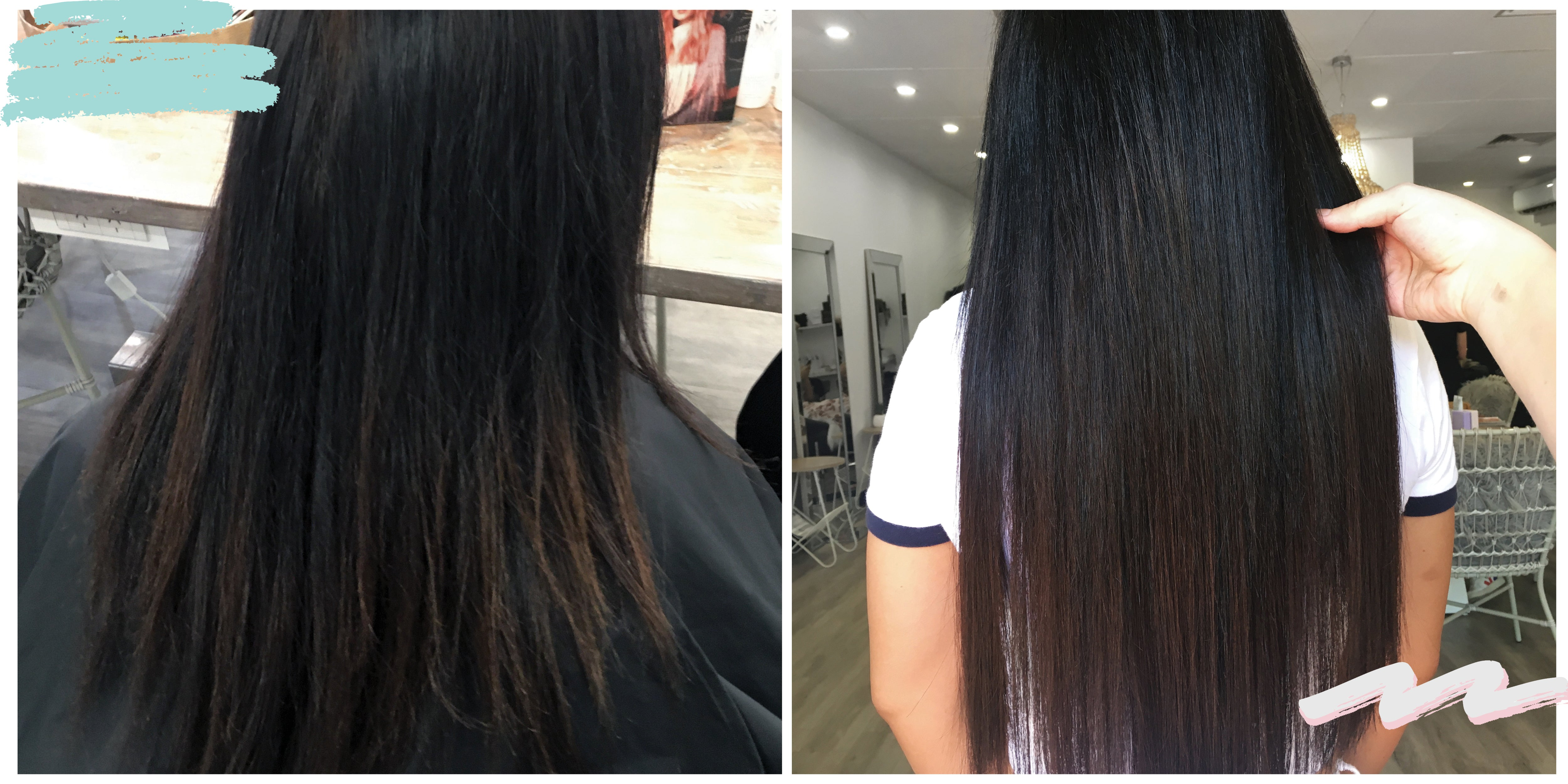 Before and After ONE Hair Salon Natural Luxe Premium Hair Extensions Perth