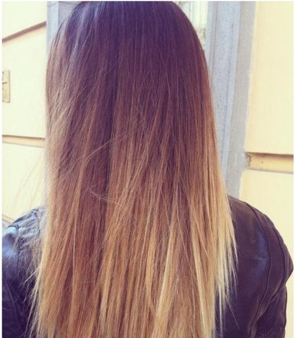 straight hair ombre balayage extensions