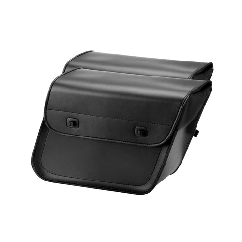 Nomad USA Slanted Plain Black Large Leather Motorcycle Saddlebags