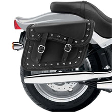Nomad USA Slanted Braided Studded Leather Motorcycle Saddlebags