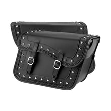 Nomad USA Slanted Braided Studded Throw-over Leather Motorcycle Saddlebags