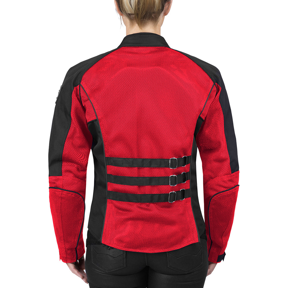 Viking Cycle Warlock Red Mesh Motorcycle Jacket for Women