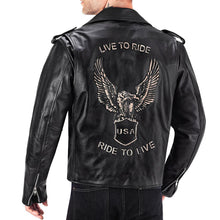 Viking Cycle American Eagle Black Leather Motorcycle Jacket for Men