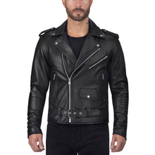 Viking Cycle Angel Fire Black Leather Motorcycle Jacket for Men