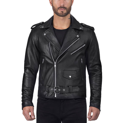 Viking Cycle Angel Fire Black Cowhide Leather Motorcycle Jacket for Men