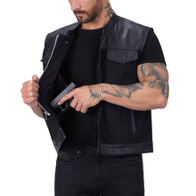 Viking Cycle Fusion Hybrid Leather Motorcycle Vest for Men