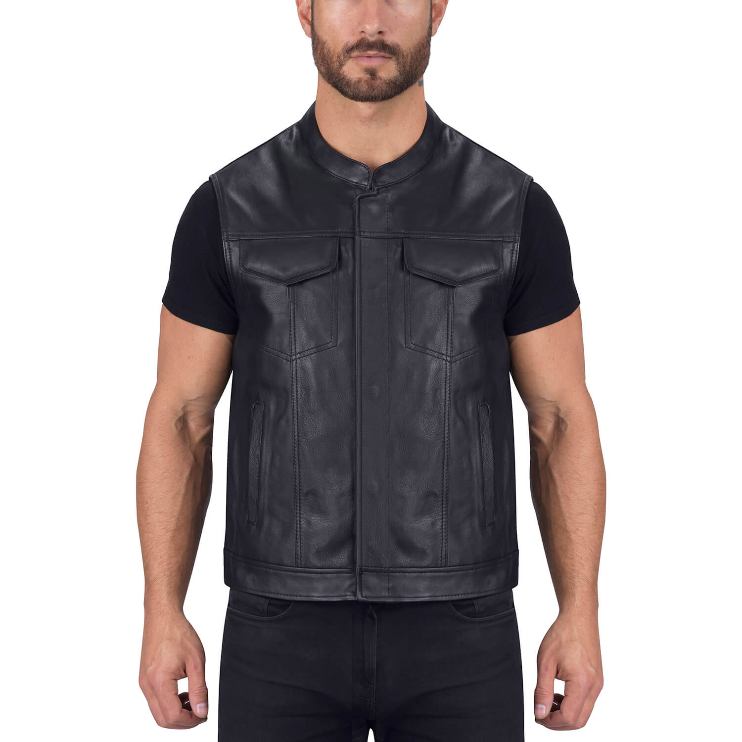 Viking Cycle Gardar Genuine Buffalo Leather Motorcycle Vest for Men Biker Club Vest with Concealed Carry Hidden Pocket