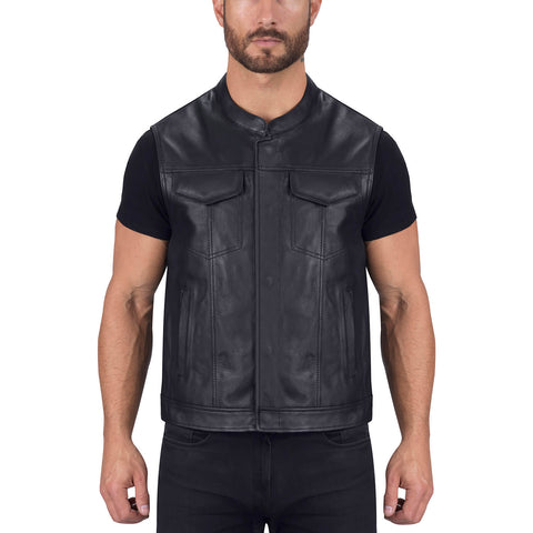 Viking Cycle Gardar Leather Motorcycle Vest for Men