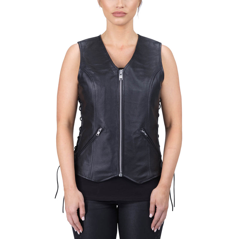 Viking Cycle Haughty Black Leather Motorcycle Vest for Women