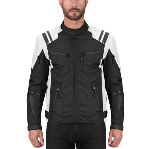 Viking Cycle Ironborn White Textile Motorcycle Jacket for Men
