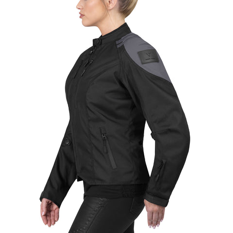 Viking Cycle Ironborn Gray Textile Motorcycle Jacket for Women