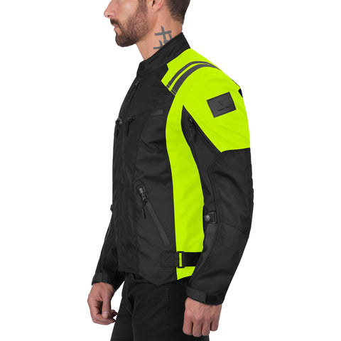 Viking Cycle Ironborn Hi Viz Neon Motorcycle Textile Jacket for Men