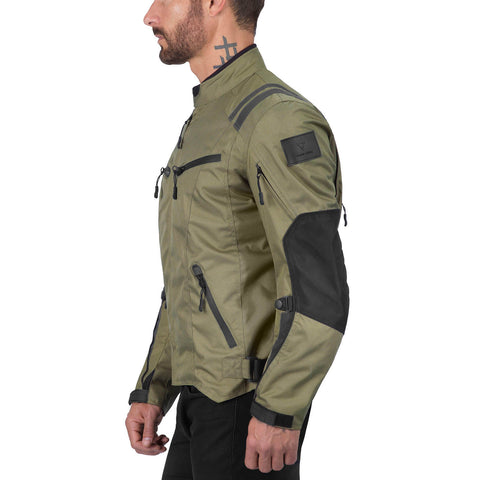 Viking Cycle Ironborn Military Green Textile Motorcycle Jacket for Men