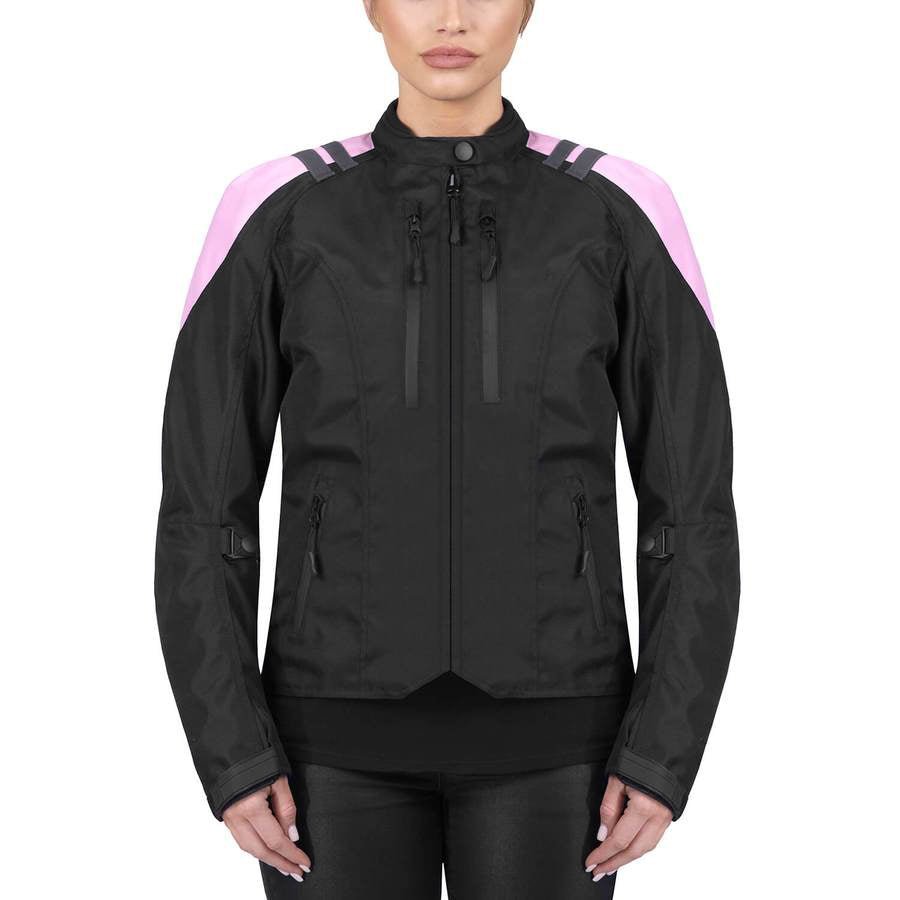 Viking Cycle Ironborn Black/Pink Textile Motorcycle Jacket for Women