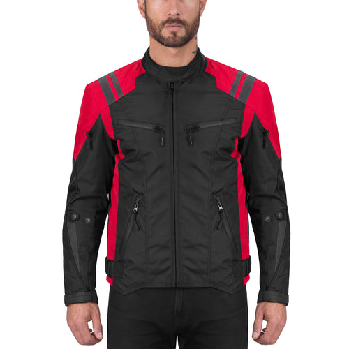 Viking Cycle Ironborn Red Motorcycle Textile Jacket for Men