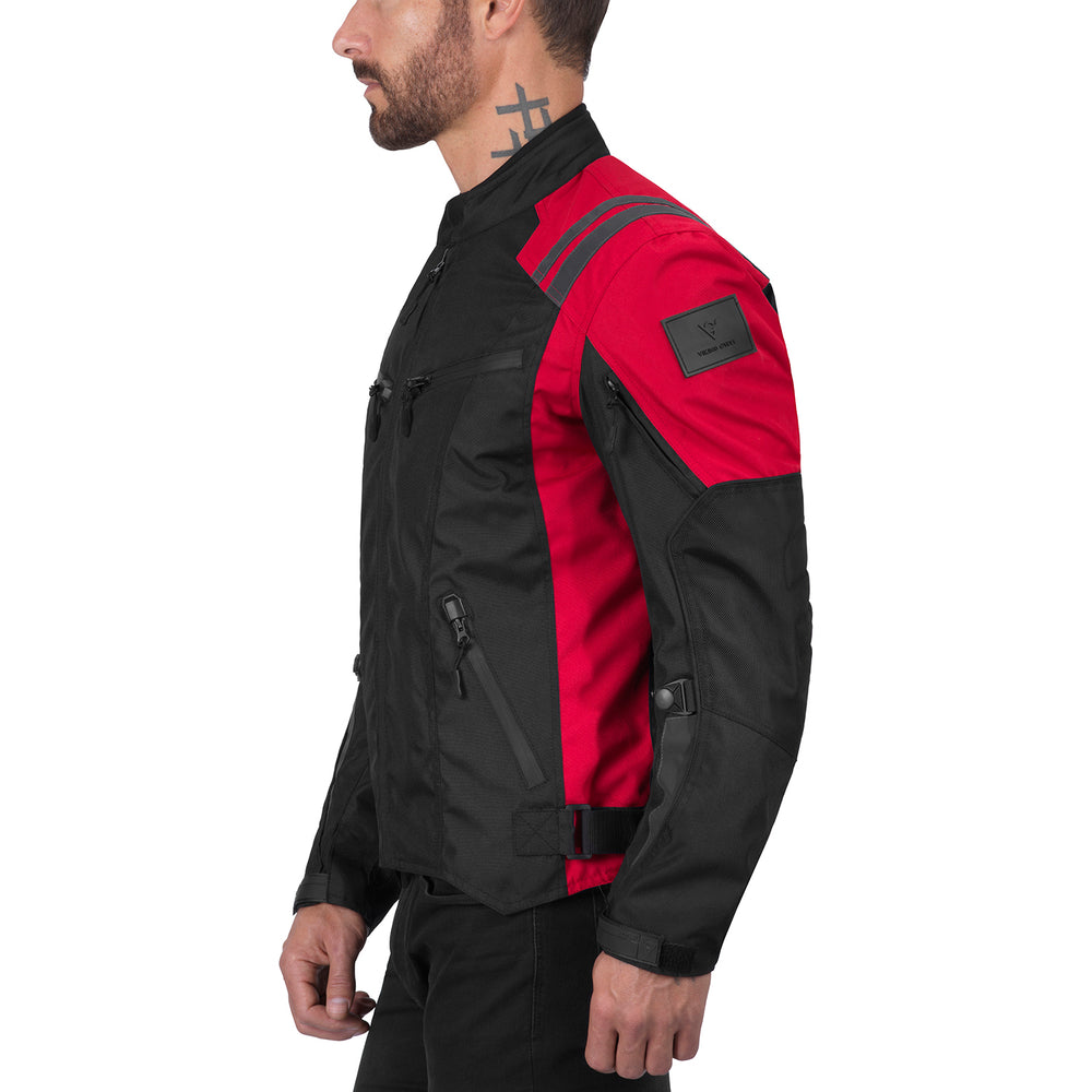 Viking Cycle Ironborn Red Textile Motorcycle Jacket for Men