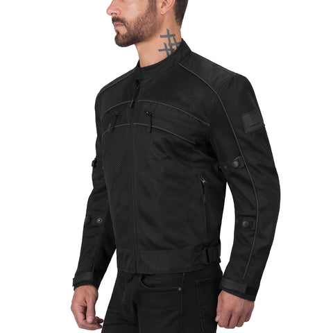 Viking Cycle Ironside Black Textile Motorcycle Jacket for Men