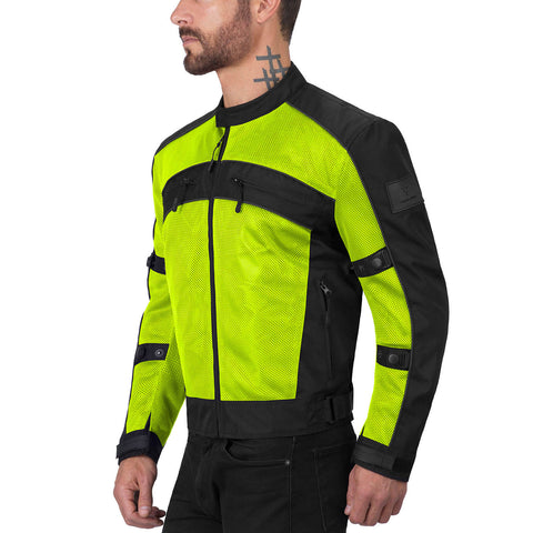 Viking Cycle Ironside Hi Viz Neon Motorcycle Textile Jacket for Men