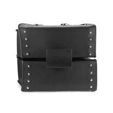 Nomad USA Slanted Studded Large Leather Motorcycle Saddlebags with Buckles