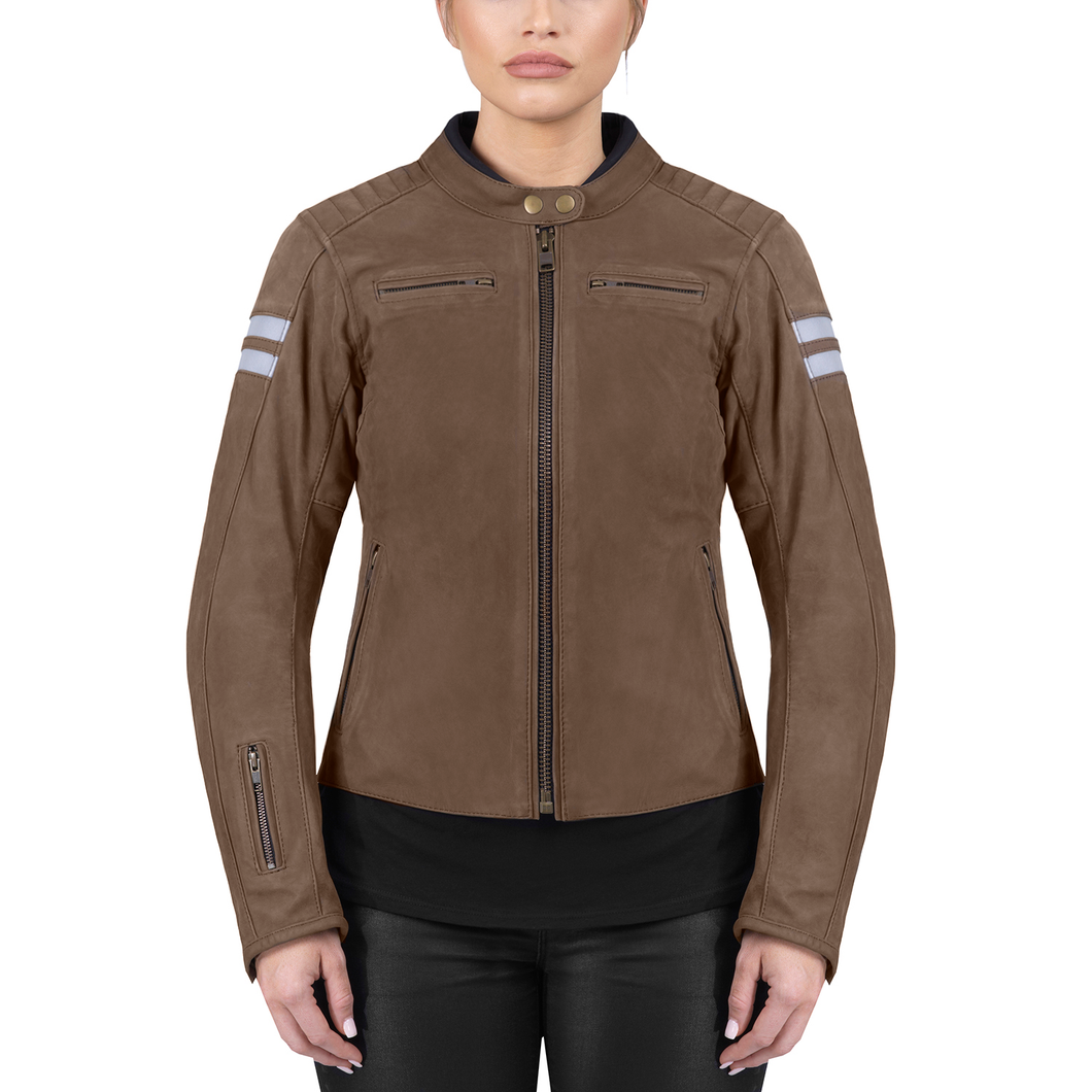 Viking Cycle Vintage Brown Leather Motorcycle Jacket for Women