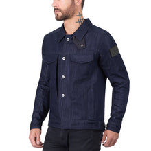 Viking Cycle Indigo Stretch Denim Armored Motorcycle Riding Jacket for Men