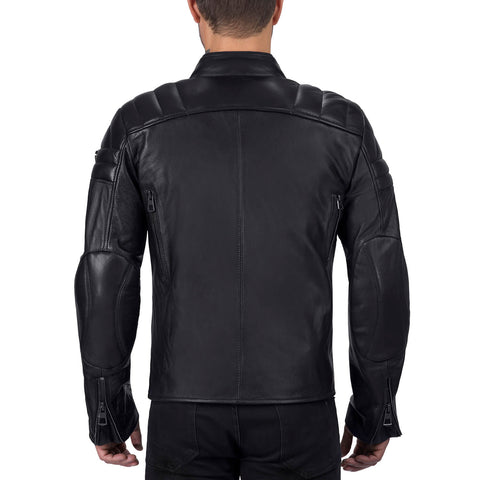 Viking Cycle Cafe Premium Black Leather Motorcycle Jacket for Men
