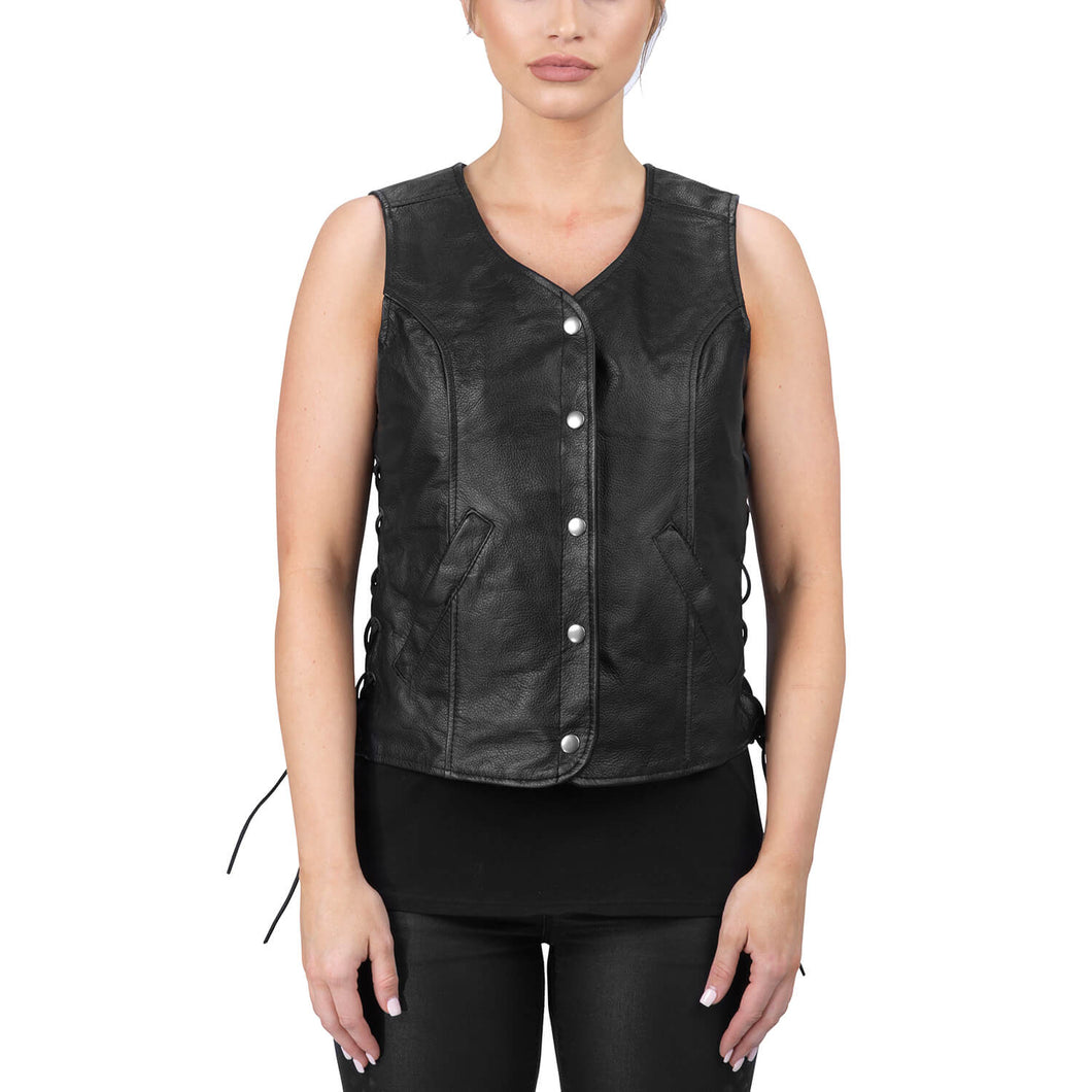 Viking Cycle Rowdy Black Leather Motorcycle Vest for Women