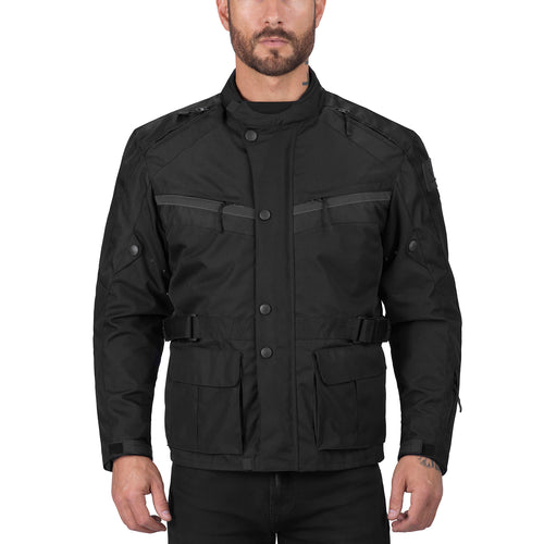 Viking Cycle Enforcer Black Motorcycle Textile Touring Jacket for Men