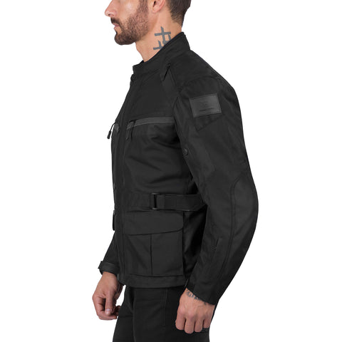 Viking Cycle Enforcer Black Textile Motorcycle Touring Jacket for Men
