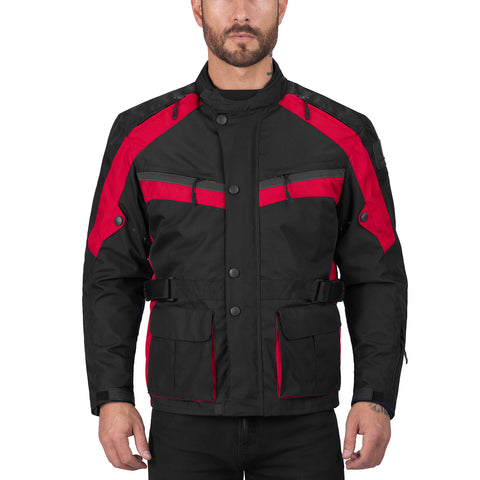 Viking Cycle Enforcer Red Motorcycle Textile Touring Jacket for Men