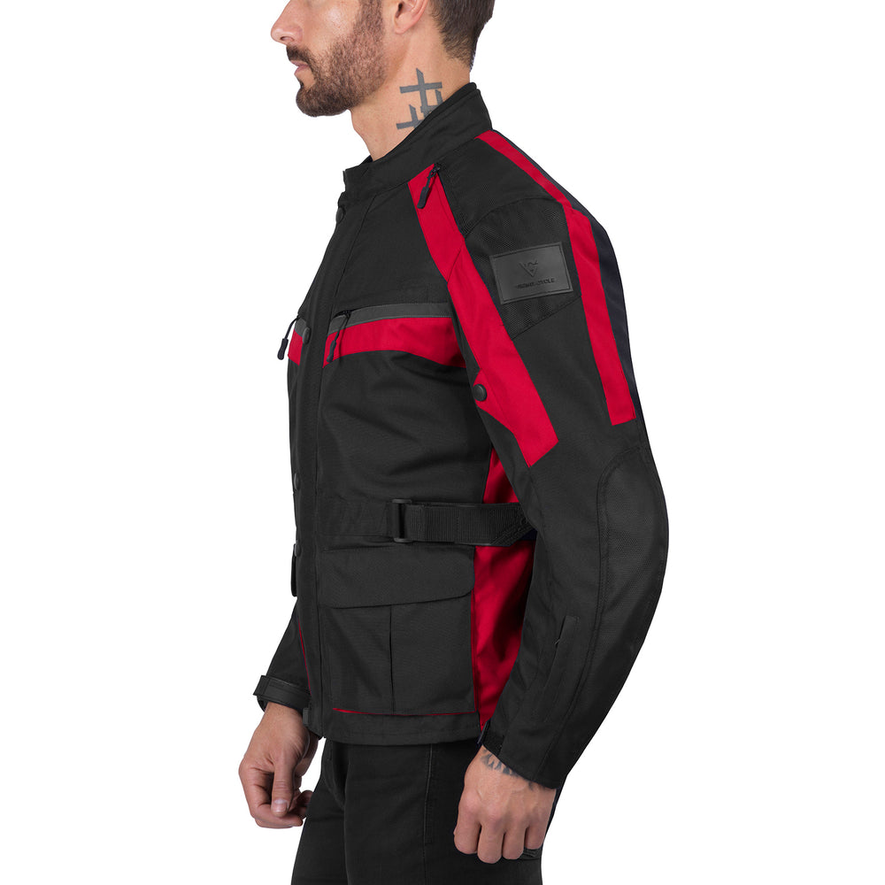 Viking Cycle Enforcer Red Textile Motorcycle Touring Jacket for Men